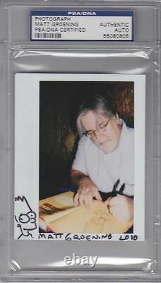 MATT GROENING Signed Autographed BART SIMPSON Sketch Photo PSA/DNA SLABBED