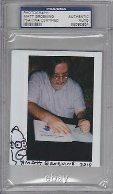 MATT GROENING Signed Autographed HOMER SIMPSON Sketch Photo PSA/DNA SLABBED