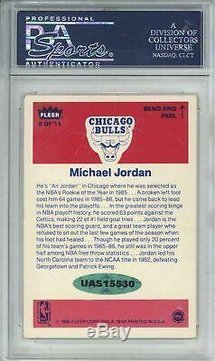 Michael Jordan Signed 1986 Fleer Sticker #8 Rookie Card Slabbed PSA/DNA