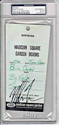Mike Tyson Signed Slabbed vs Mitch Green Bill Cayton Fight Badge PSADNA 84035229