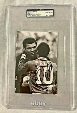 Muhammad Ali with Pele Autographed 4x6 Photo Signed PSA/DNA Slabbed Grade 10 Mint