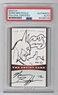 Norm Breyfogle BATMAN Signed Auto Card With Original Sketch PSA/DNA Slabbed (A)