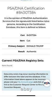 PRESIDENT DONALD TRUMP SIGNED Photo Cut, PSA/DNA CERTIFIED, SLABBED, RARE