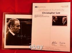 PSA/DNA & BAS slabbed CHRISTOPHER LEE signed DRACULA on set with PETER CUSHING
