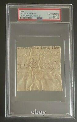 Patrick Henry signed cut PSA DNA Slabbed Auto Founding Father d. 1799 Rare C531