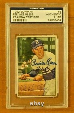 Pee Wee Reese Signed 1952 Bowman PSA/DNA Slabbed Card