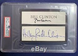 President Bill Clinton & Hillary Clinton Dual Signed Cut Autograph PSA/DNA Slab