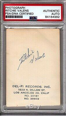 RITCHIE VALENS Signed Autographed Authentic Del-Fi Records Photo PSA/DNA SLABBED
