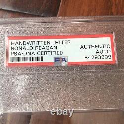 RONALD REAGAN PSA/DNA Slab Handwritten Autograph Note Letter Signed
