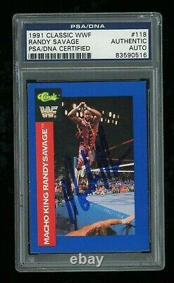 Randy Savage PSA/DNA Slabbed 1991 Classic WWF #118 Signed Autographed Auto Card