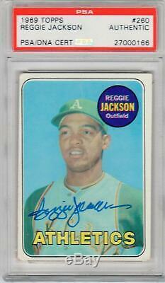 Reggie Jackson signed 1969 Topps rookie card #260 PSA/DNA Slab autographed