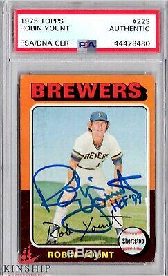 Robin Yount signed 1975 Topps Rookie Card PSA DNA Slabbed Inscribed HOF C386
