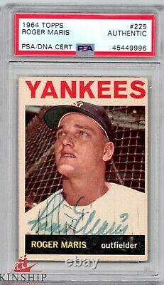Roger Maris signed 1964 Topps Trading Card PSA DNA Slabbed Auto Yankees C461