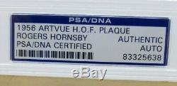 Rogers Hornsby Autographed Slabbed 1956 Artvue HOF Plaque PSA/DNA Cert