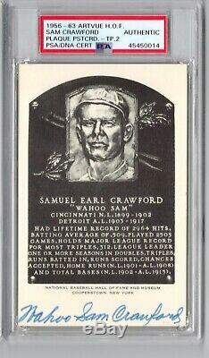 Sam Wahoo Crawford signed 2x B&W Artvue HOF Plaque PSA DNA Slabbed Auto C514