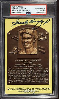 Sandy Koufax Yellow HOF Plaque Postcard Signed Auto PSA DNA Slabbed Do ID310568
