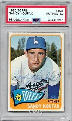 Sandy Koufax signed 1965 Topps Trading Card PSA DNA Slabbed Dodgers HOF C452