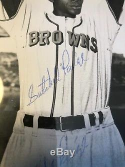 Satchel Paige Autographed Signed TWICE 8x10 VTG Photo Browns PSA/DNA Slabbed