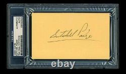 Satchel Paige Signed Index Card Psa/dna Slabbed Autographed Hof Negro Leagues