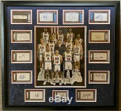 USA Dream Team Autographed Slabbed Cuts Frame PSA/DNA Beckett JSA Full Letter