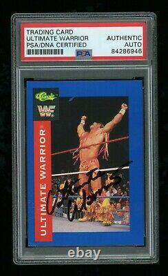 Ultimate Warrior PSA/DNA Slabbed 1991 Classic WWF #36 Signed Auto Card