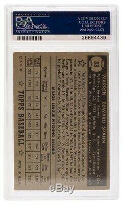 Warren Spahn Boston Braves Signed Slabbed 1952 Topps #33 Card PSA/DNA