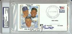 Willie Mays Signed Autographed First Day Cover Cachet Mantle Snider PSA/DNA Slab