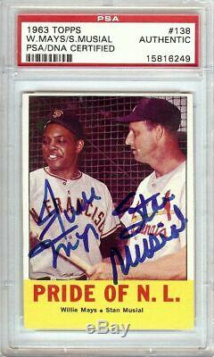 Willie Mays Stan Musial 1963 Topps Vintage Dual Autograph PSA/DNA Slabbed #139