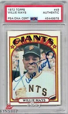 Willie Mays signed 1972 Topps Trading Card PSA DNA Slabbed Auto Giants HOF C457