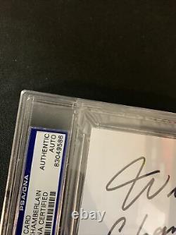 Wilt Chamberlain Signed Slabbed Index Card Auto Perfect Bold Signature PSA/DNA