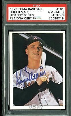 Yankees Roger Maris Signed Card 1979 TCMA #161 Auto Graded 9! PSA/DNA Slabbed