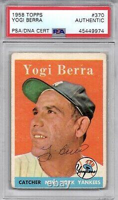 Yogi Berra signed 1958 Topps Trading Card PSA DNA Slabbed Auto Yankees HOF C444